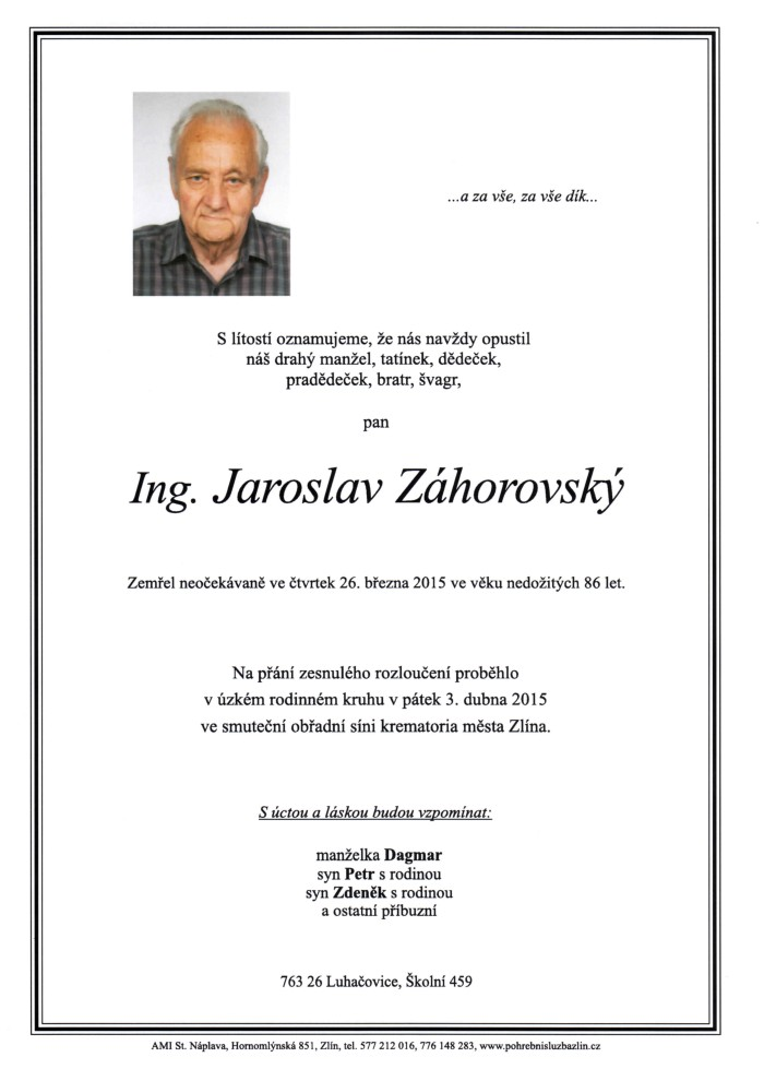 Ing. Jaroslav Záhorovský
