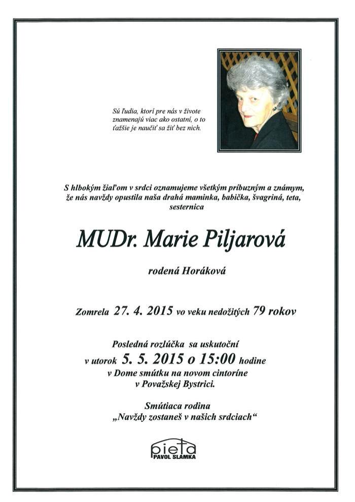 MUDr. Marie Piljarová