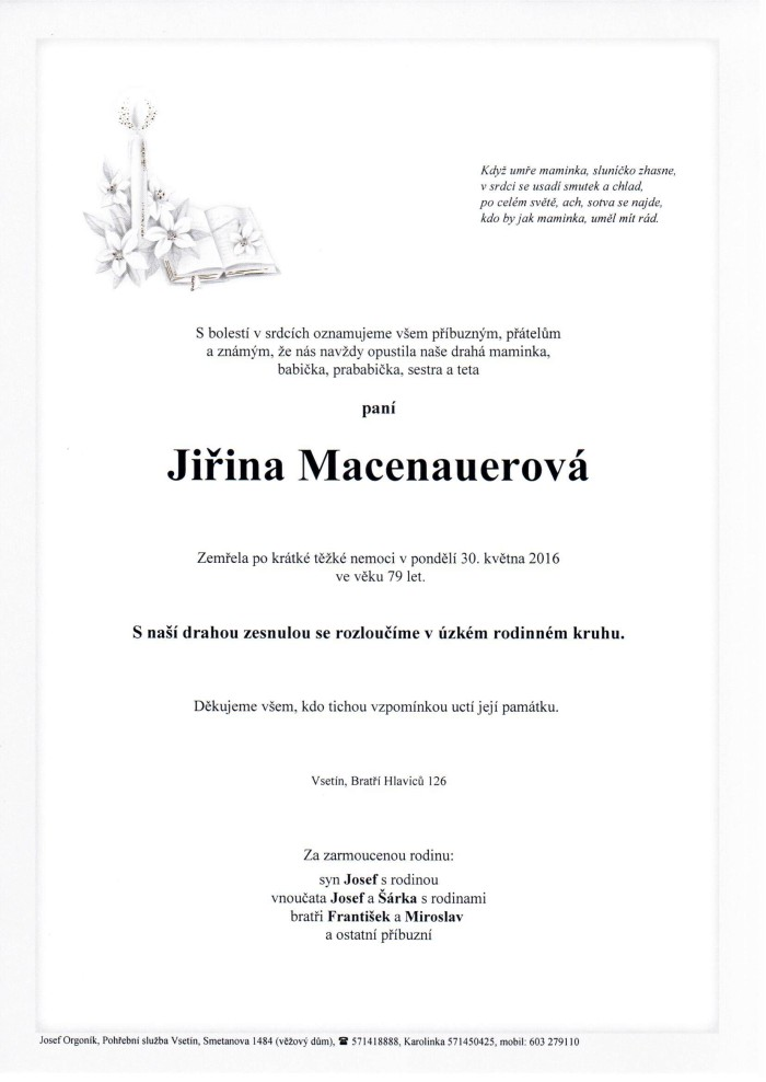 Jiřina Macenauerová