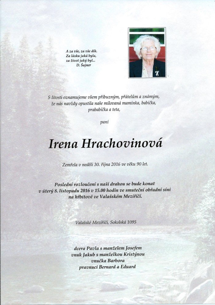 Irena Hrachovinová