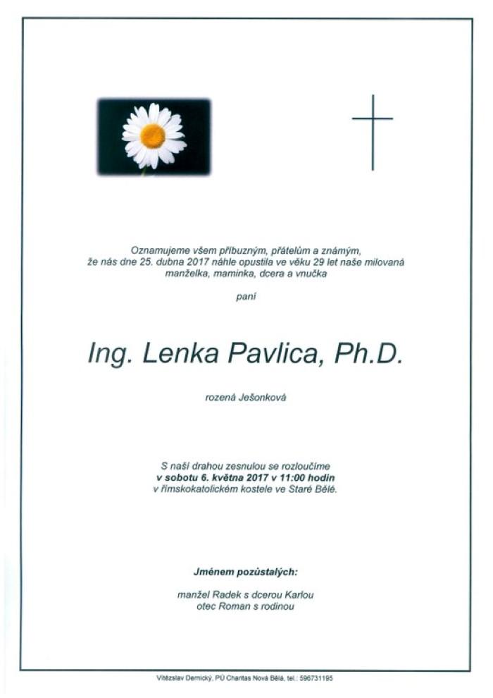 Ing. Lenka Pavlica, Ph.D.