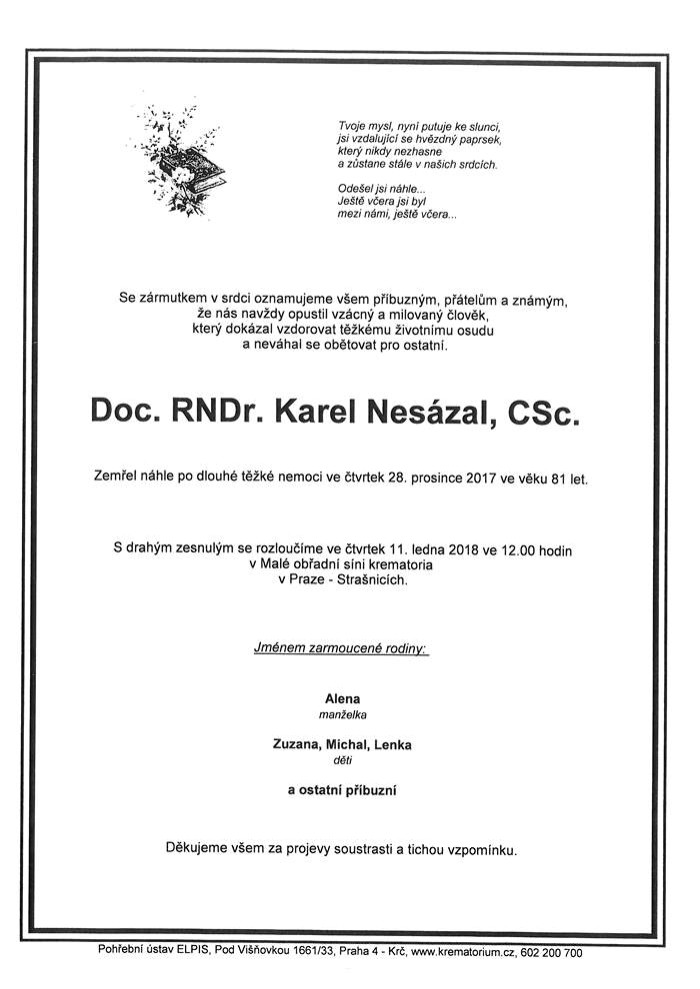 Doc. RNDr. Karel Nesázal, CSc.