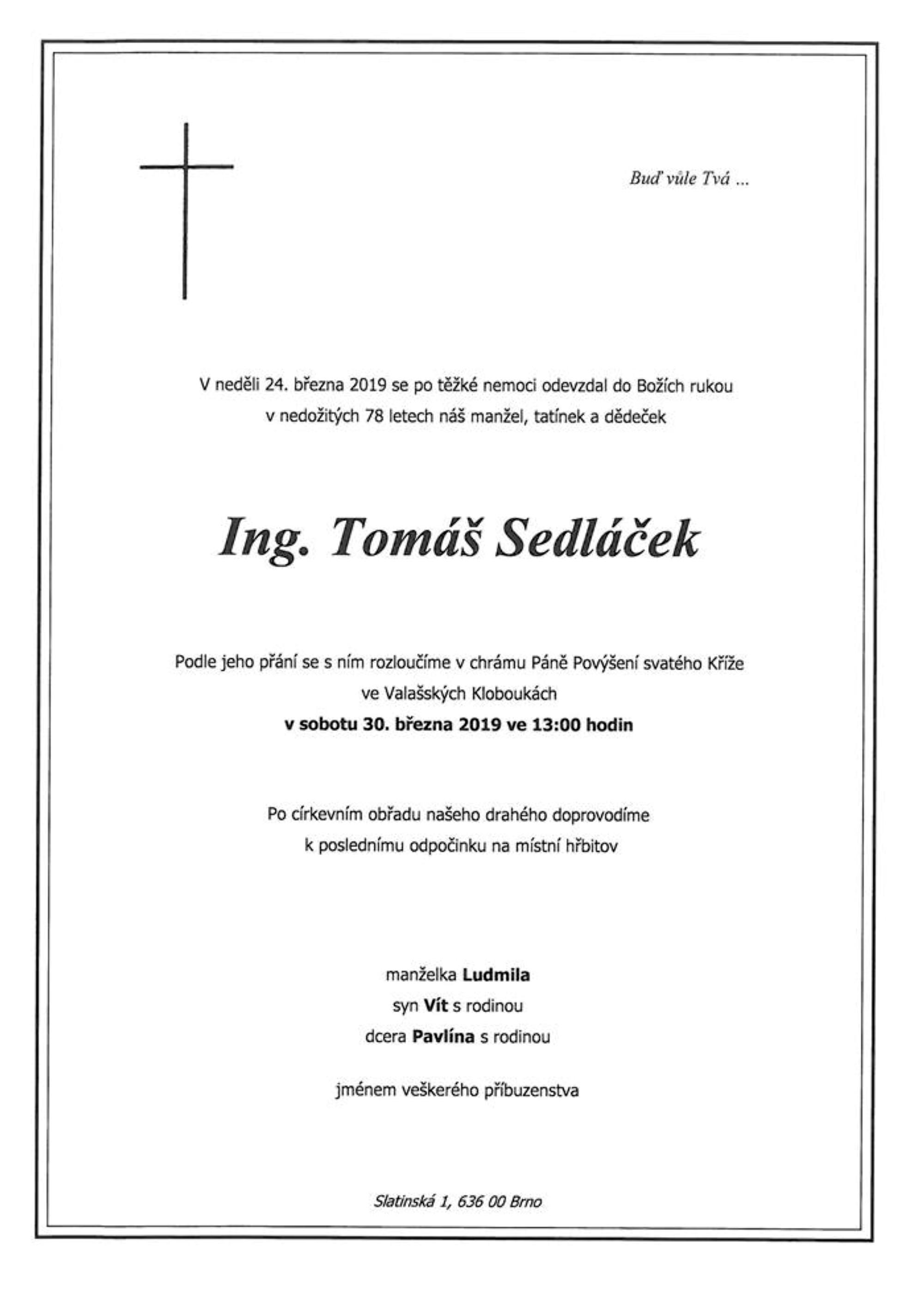 Ing. Tomáš Sedláček