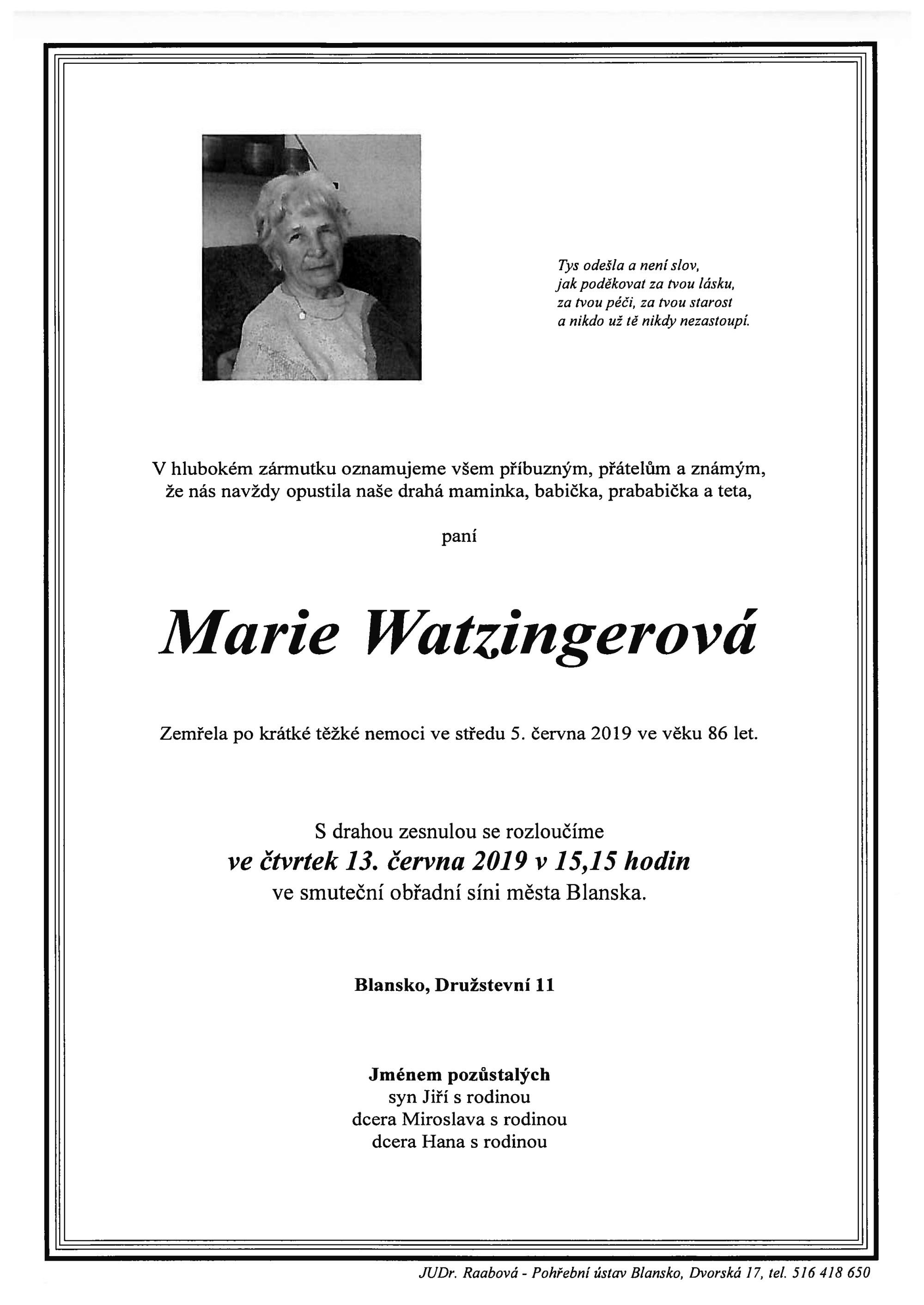 Marie Watzingerová