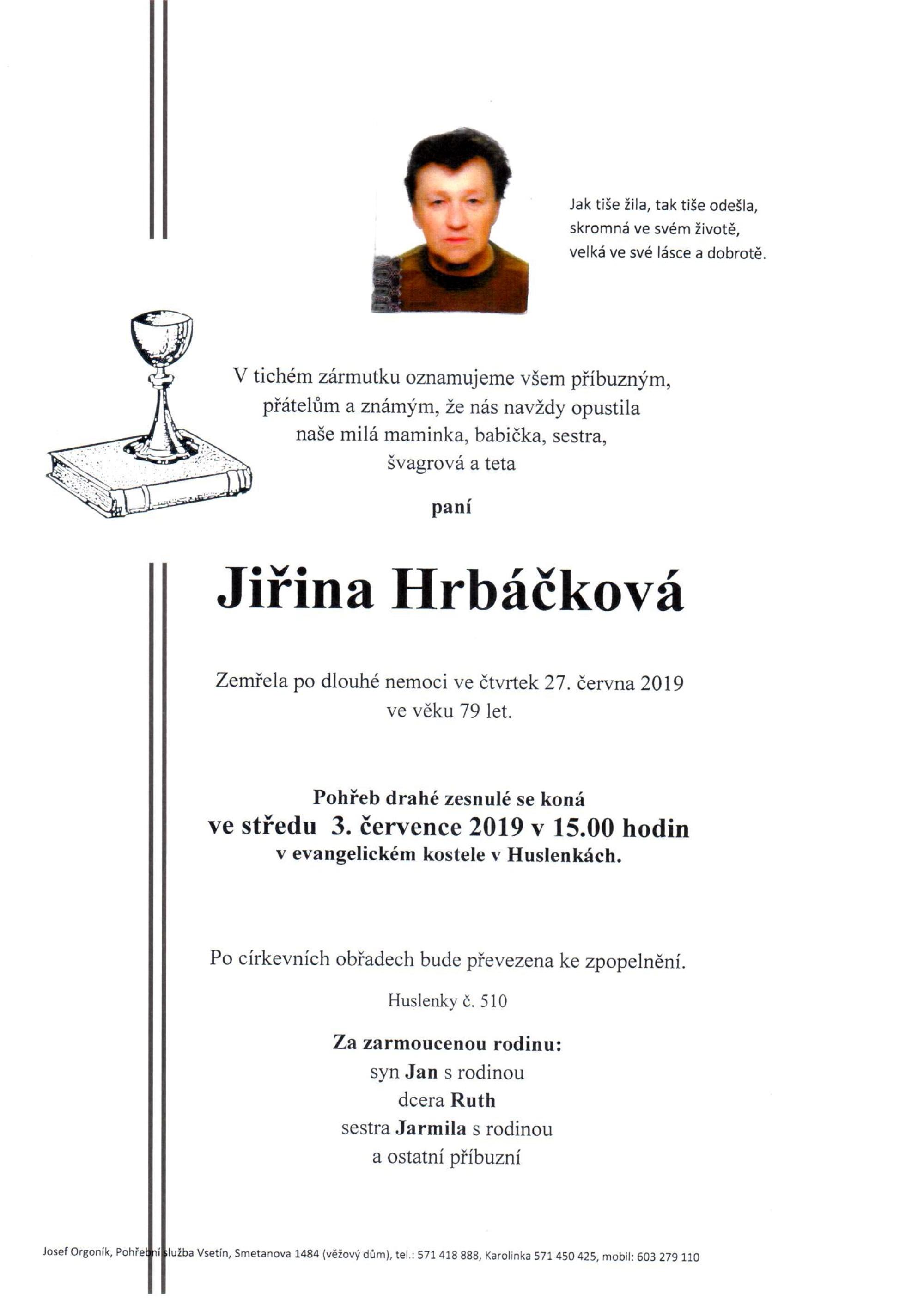 Jiřina Hrbáčková