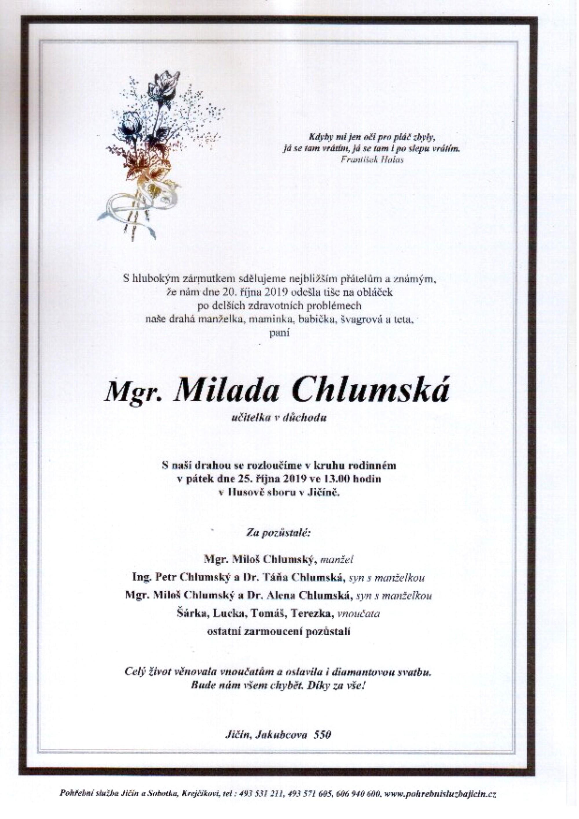 Mgr. Milada Chlumská
