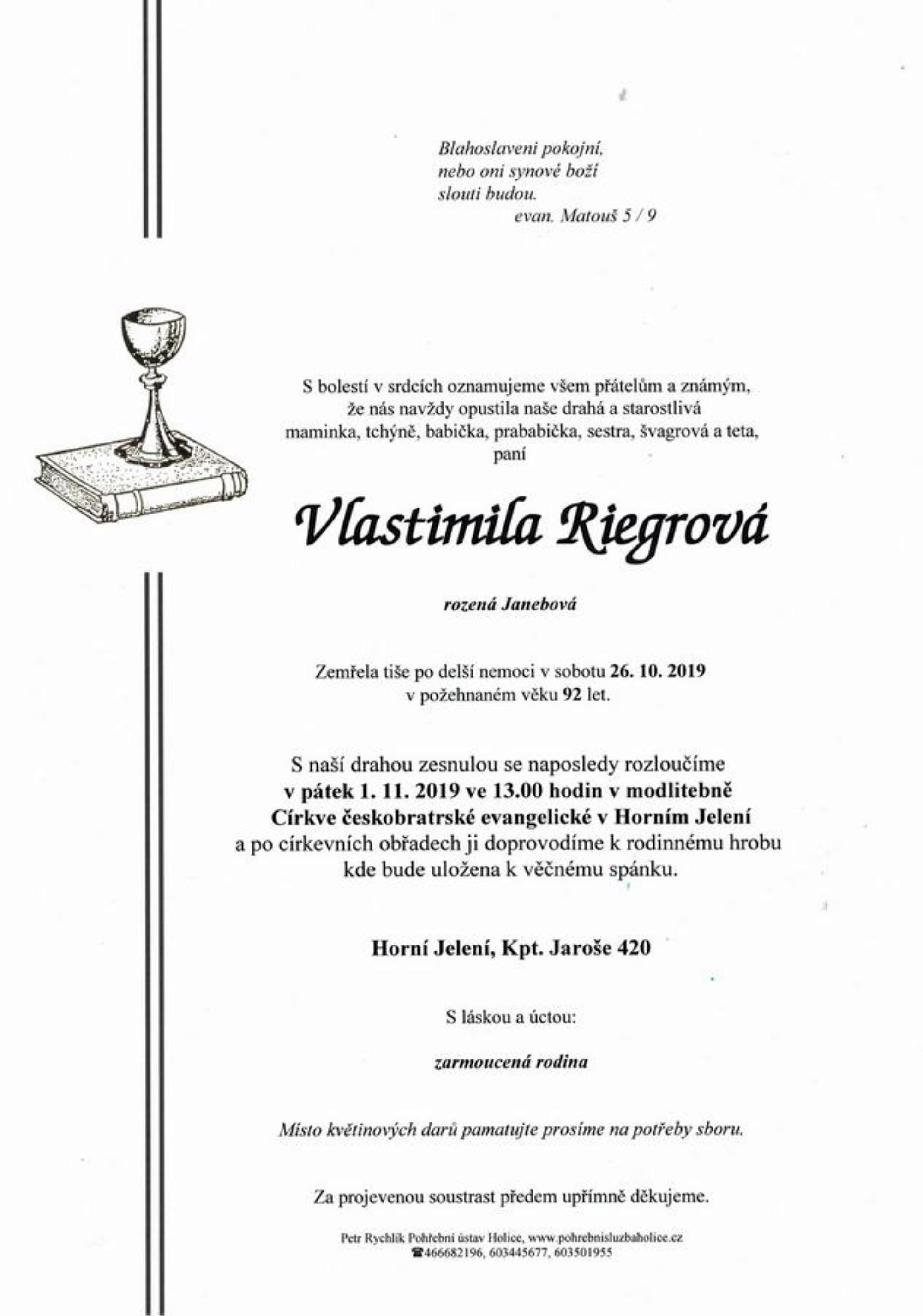 Vlastimila Riegrová