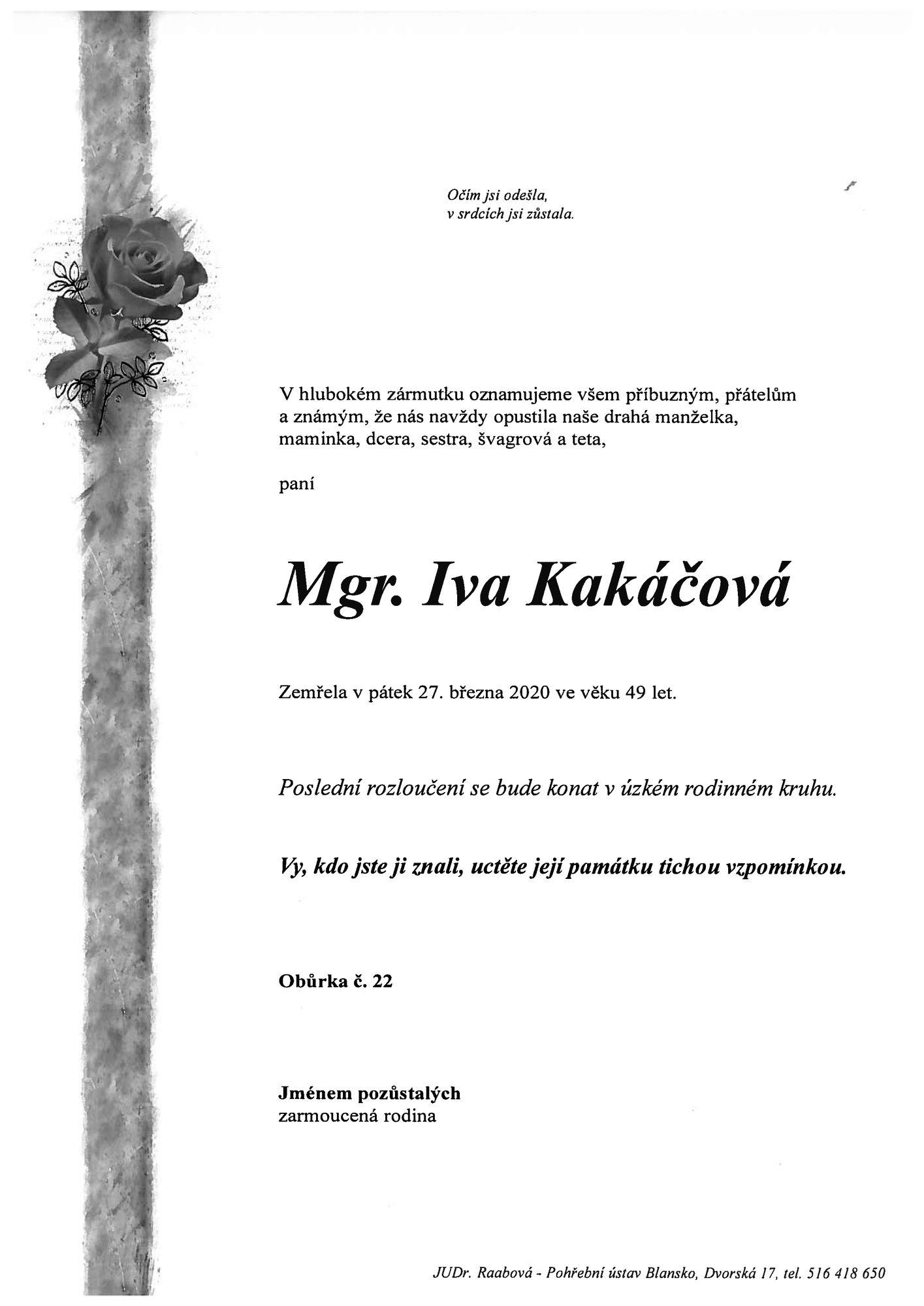 Mgr. Iva Kakáčová