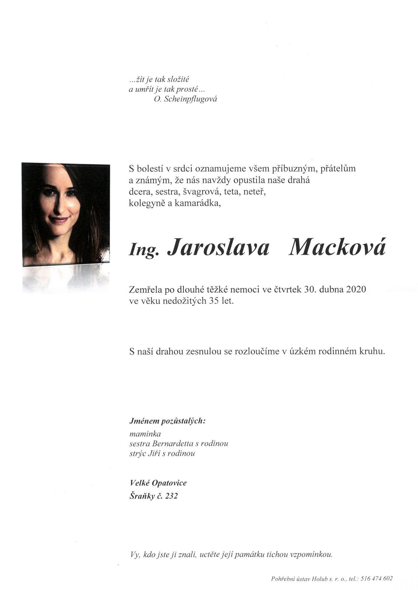 Ing. Jaroslava Macková