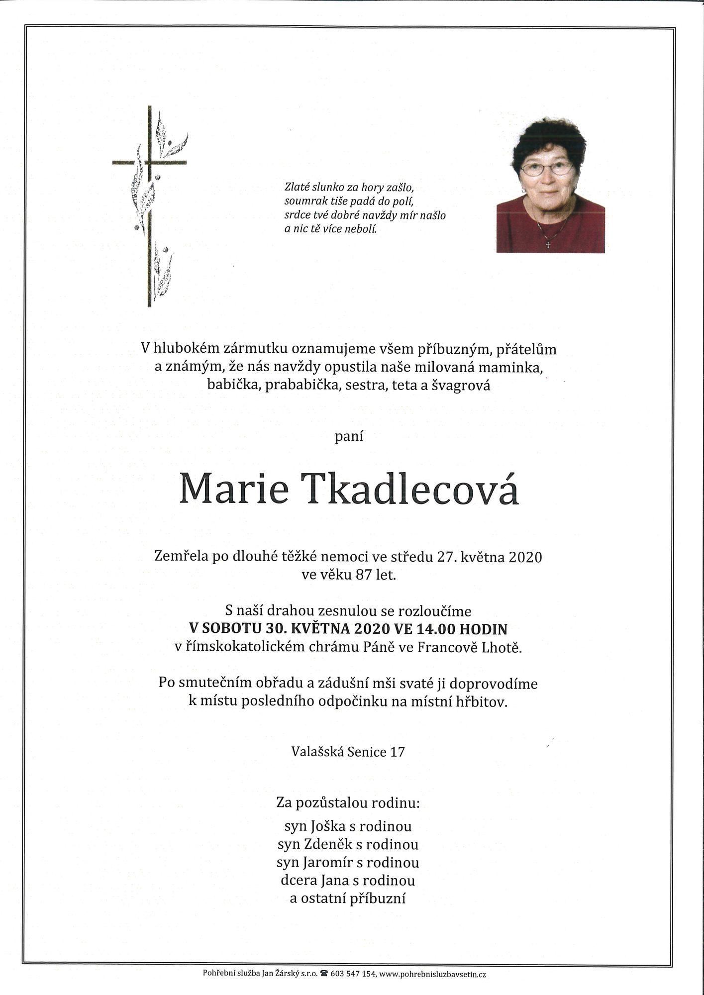 Marie Tkadlecová