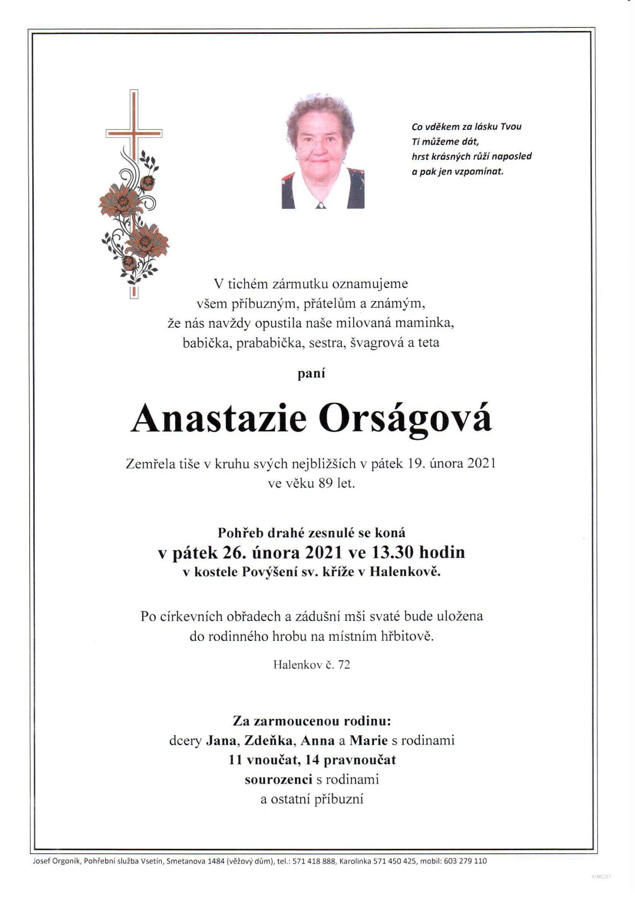 Anastazie Orságová