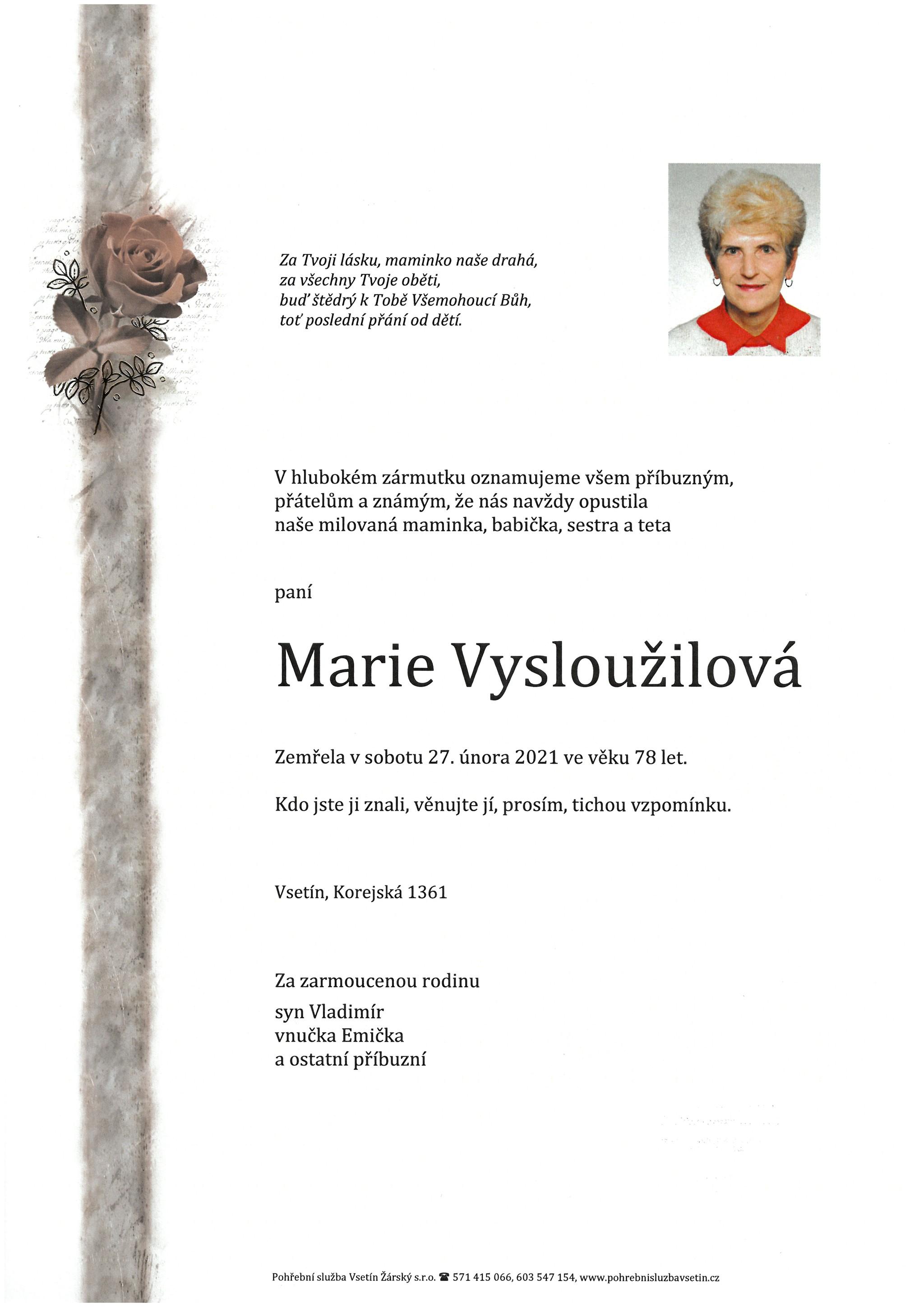 Marie Vysloužilová