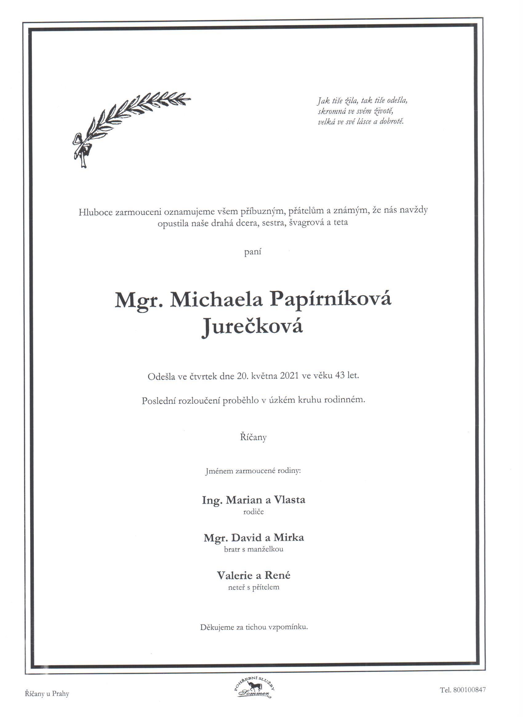 Mgr. Michaela Papírníková