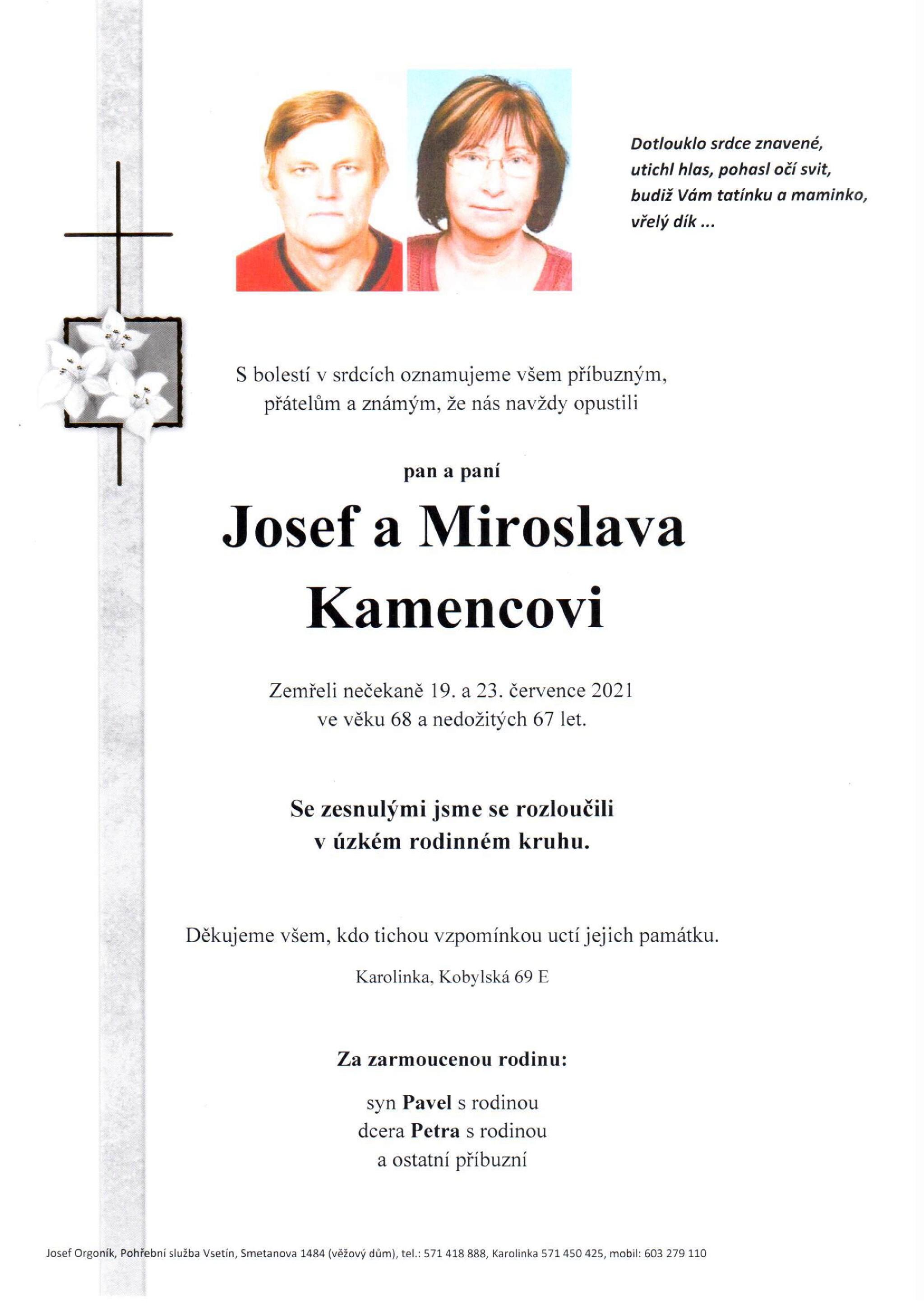 Josef a Miroslava Kamencovi