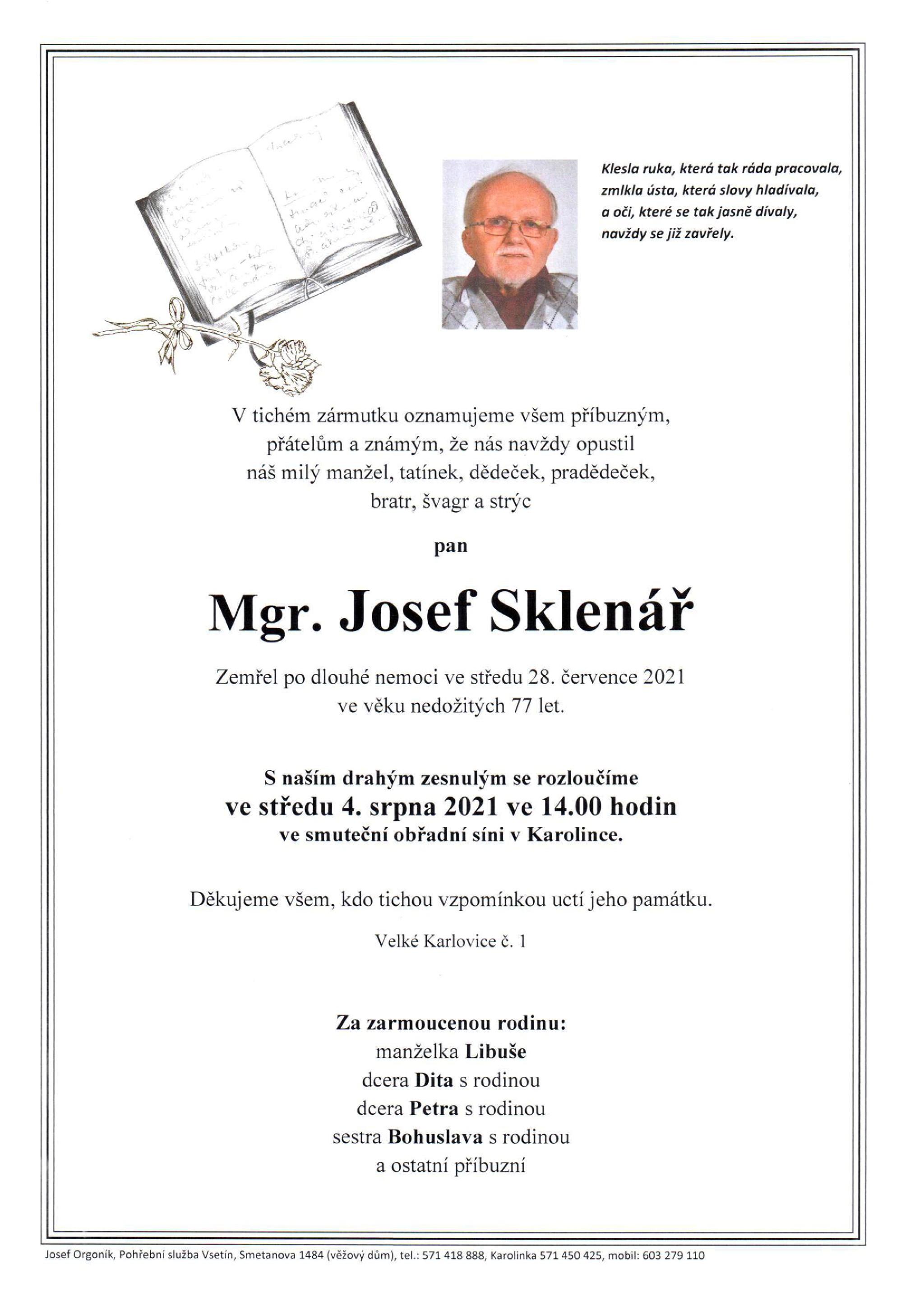 Mgr. Josef Sklenář